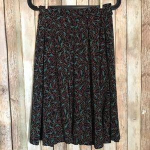 Lularoe XS Madison Skirt Pockets Crows Pleated